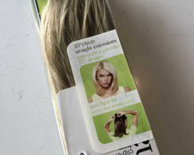 New 10 inch clip in straight blonde hair extensions