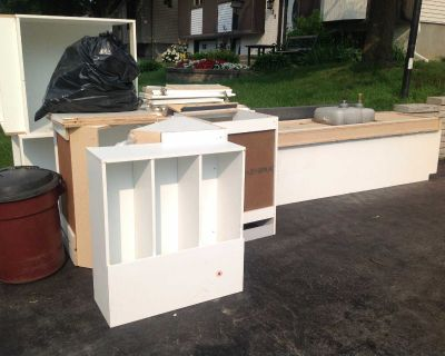 Curb Alert: free kitchen cupboards, counter and sink!