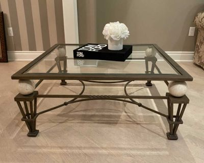 Beautiful Coffee Table With Marble Accents