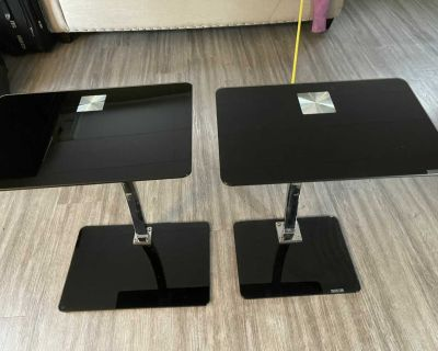 Two Glass & Chrome Pedestal Side Tables