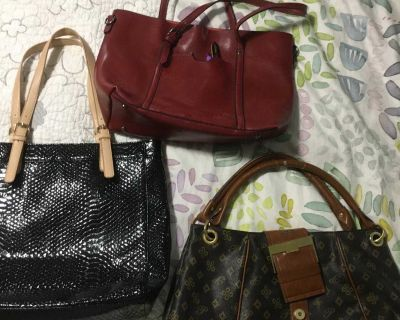3 handbags, clean, gently used. All 3 must go together.