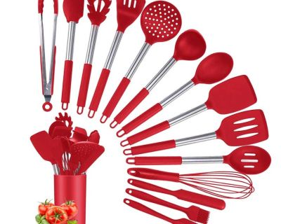 15 Piece Non-stick Heat Resistant Silicone Cooking Utensils with Stainless Steel Handle, BPA-Free