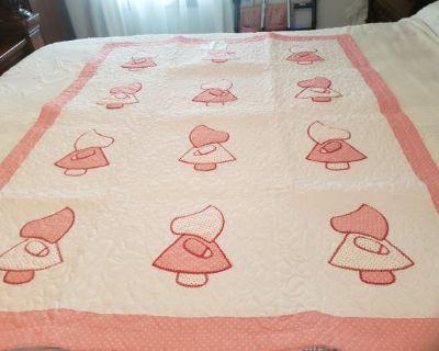 Pink and White Sun Bonnet Sue Appliqued Quilt