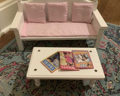 Couch and coffee table for 18 doll