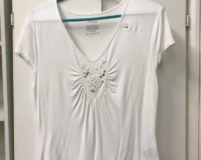 White Knit Beaded-Front Top Sz L