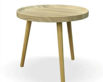 NEW - IN-BOX - ONE (1) GARY NATURAL ROUND FAUX WOOD SIDE TABLE