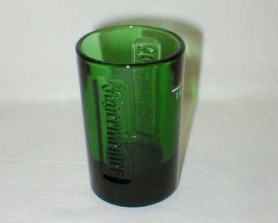 JAGERMEISTER Green Glass Shot Glass w/ EMBOSSED LOGO - NEW