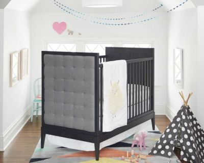 Pair of Land of Nod Grey Cribs with Naturepedic Organic Mattresses and Toddler Rails