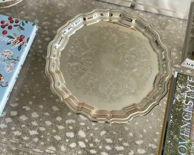 Reed And Barton Chippendale Round Silver Tray, Retail $125+ Tax, Silver Serving