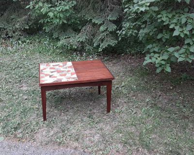 Mid Century Modern Mosaic Tiled Top Side Table