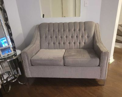 Studded/Tufted Sofa and Loveseat for Sale