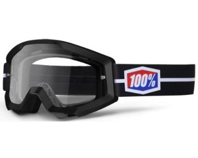 New 100% Adult Mx Atv Race Black Suit Strata Goggles White Blue With Clear Lens