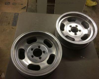 "15""x4.5"" Inch Ansen Sprint Aluminum Slot Wheels Ford/mopar 4.5"" Bolt Pattern"