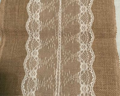 Burlap lace table runner 55 inches long 12 inches wide