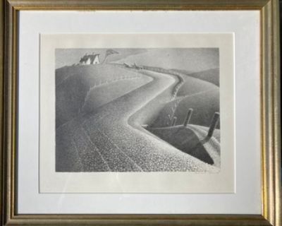 Grant Wood, March, 1939, Lithograph on Paper (signed print)