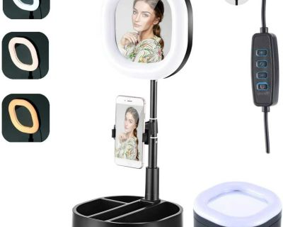 Foldable LED Makeup Mirror/Selfie Light, 6.3'' Portable Ring Light Box with Stand and Phone Holder, 3 Colors, 9 Brightness Levels