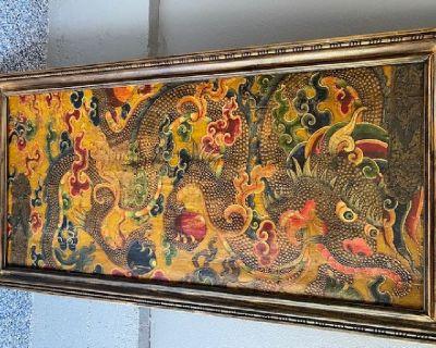Tibetan Hand Painted Panel (Framed for Hanging)