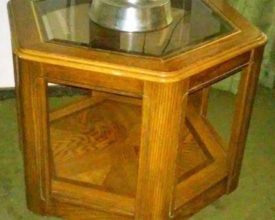 Octagon Oak End Table