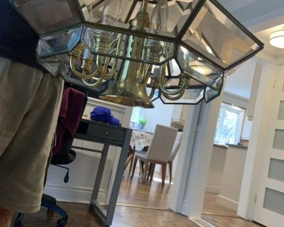 Real Brass and Glass Chandelier
