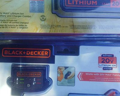 2 packs black + decker 20V max Lithium ion battery & charger combo