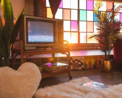 Unique DTLA Vintage Loft Studio w/ Colorful Windows, Stage, Props, Natural Lighting, Easy Parking, Los Angeles, CA