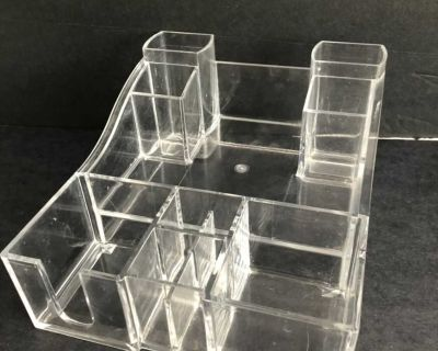 Large Acrylic Cosmetic Organizer. Thick quality acrylic. Gently used. 10 deep x 8 wide 5 tall