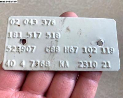 1970 Westfalia Campmobile Orig. M-Code Plate