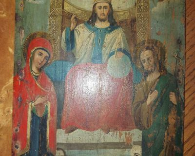 """Beautiful antique 19th Century Russian Orthodox Icon """"Jesus Christ King of Glory"""" hand-painted on wooden board 11 3/4"""" by 9"""" by 3/4"""""""