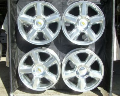 """20"""" Inch Silverado Tahoe New Factory Polished Chevrolet Wheels 5308 With Caps"""