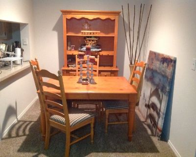 Dinning table 4 chairs and 2 piece buffet