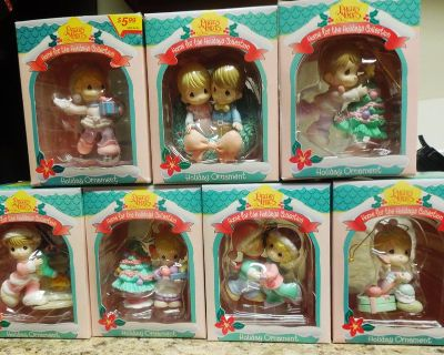 Precious Moments Christmas Ornaments Lot of 7-- 1995-1996 Home For The Holidays