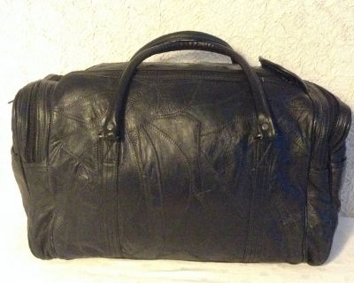 NEW-Travel Leather bag in patchwork genuine leather-very lightweight