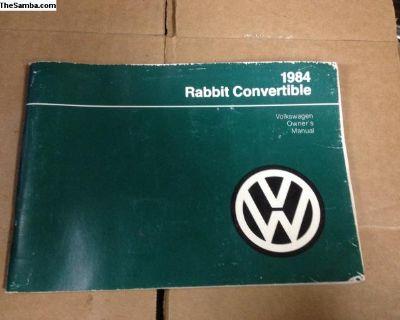 1984 rabbit convertible owners manuals