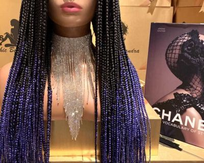 Handmade knotless braided with natural full lace hair wig