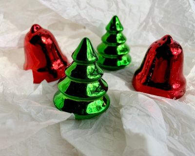 2 Sets of Mini Salt & Pepper Shakers - Holiday Bell & Tree