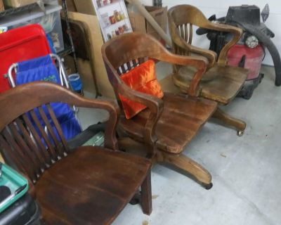 3 Antique Solid Wood Swivel Chairs with Arms