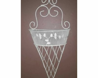 Vintage white wire sconce