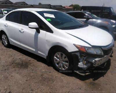 Salvage White 2012 Honda Civic Sdn