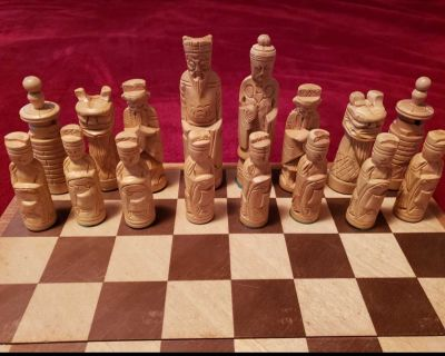 Vintage Asian Wooden Chess Set