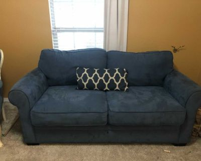 Super comfy blue suede couch