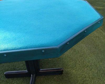 Custom teal wood poker table