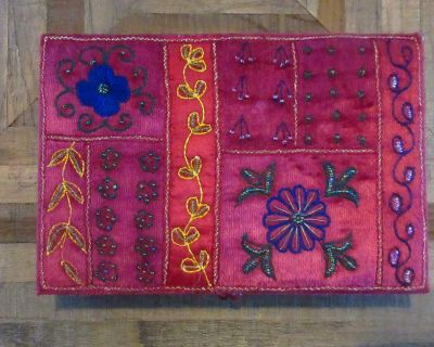 Velvet box with embroidered design - very pretty from Pier 1 . more pics below