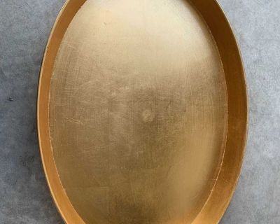 Large gold serving tray - think plastic