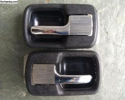 Chrome Rabbit Door Pulls with black trim