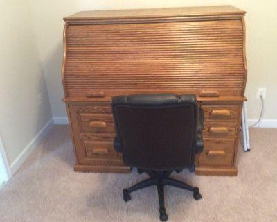 Solid Oak Roll Top Desk w/ Chair
