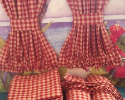VW Bus Red Check Curtains Cabin Divider Fits Bays