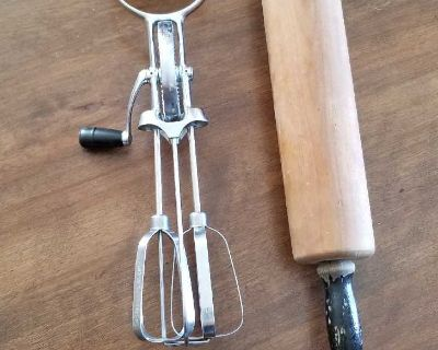 Vintage Hand Mixer and Rolling Pin