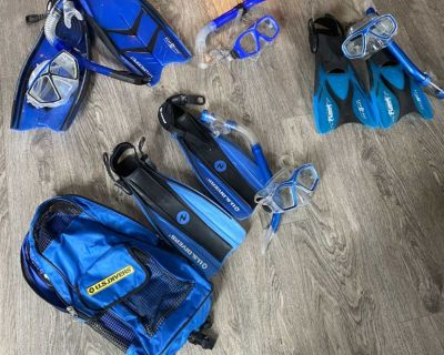 Snorkel gear- one adult set with flippers, 2 kids with flippers, one kids without fliipers