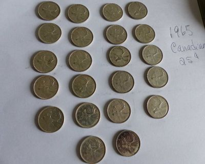 1965 Canadian quarters (not cleaned). $1234 = make me an offer.