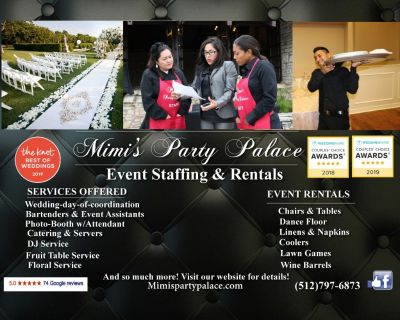 Tables, Chairs, Photo booth, Catering, Coolers & more!